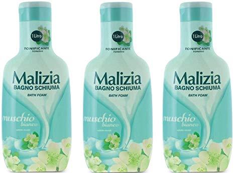 3x MALIZIA Bagnoschiuma Tonificante Muschio Bianco Schaumbad weißer Moschus Verstrebungen Duschgel 1Lt