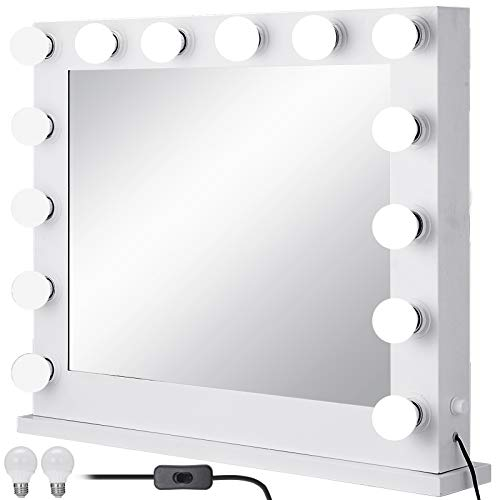 VEVOR Schminkspiegel Weiß 800 x 650 mm Kosmetikspiegel Beleuchtet mit 14 LED einstellbar Schminkspiegel Rund mit LED Beleuchtung Make-up Spiegel Quadratisch für Zuhause Wohnzimmer und Unterwegs