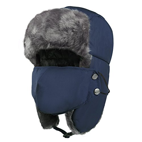 VBIGER Trooper Trapper Hat Winter Windproof Ski Hat with Ear Flaps and Mask Warm Hunting Hats for Men Women Blue