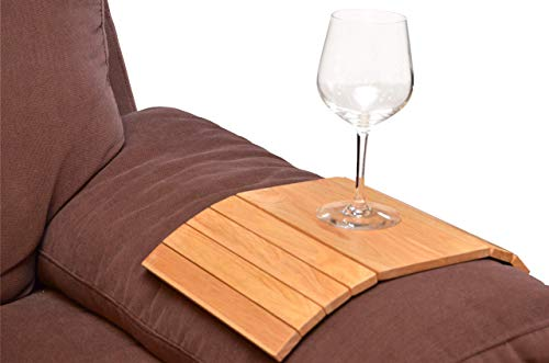 Flexible Wooden Sofa ARM Chair Tray Media Organiser Snack