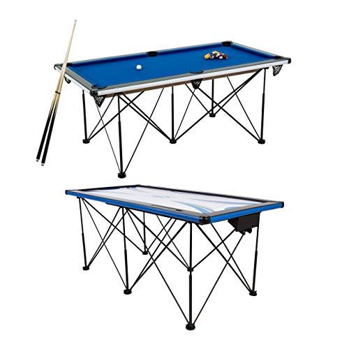 TRIUMPH Sports 6' Portable Pop Up Folding Pool/Billiard Table with Folding Legs, Instant Assembly and Accessories Included, Blue, 72' (45-6051W)