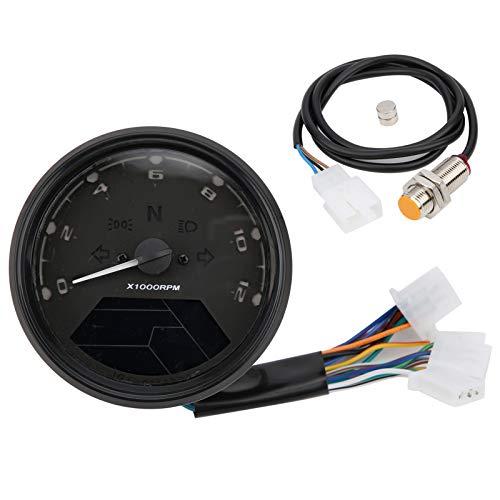 Tomanbery Indicador LED multifunción Tacómetro de Motocicleta Velocímetro 12V para Piezas de Repuesto Accesorio de Motocicleta