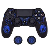 PS4 Controller Skin, BRHE Anti-Slip Grip Silicone Cover Protector Case Compatible with PS4 Slim/PS4 Pro Wireless/Wired Gamepad Controller with 2 Cat Paw Thumb Grip Caps (Blue)