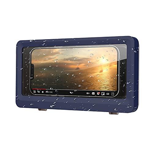 MoKo Soporte Impermeable para Teléfono de Baño, Adecuado para Teléfonos de Menos de 6,8', Compatible con iPhone Galaxy, Soporte para Teléfono con Pantalla Táctil Antivaho - Azul