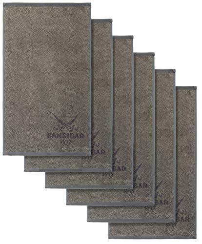 Sansibar Handtuch 6er Set 50x100 cm 100% Baumwolle Doubleface Frottiertuch Zweifarbig Taupe/Anthrazit