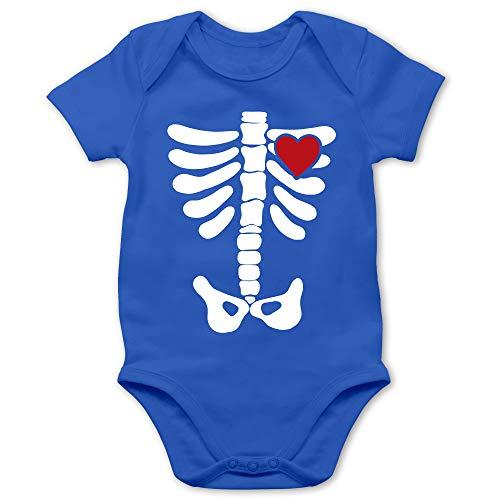 Shirtracer Halloween Baby - Skelett Herz Halloween Kostüm - 12/18 Monate - Royalblau - Skelett - BZ10 - Baby Body Kurzarm für Jungen und Mädchen