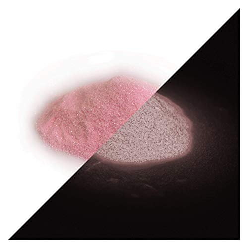 lumentics nagloeiende glitter roze 50 g - in het donker oplichtende glitter om te knutselen voor verf, hars, lak, kunst, vingernagels. Glow in The Dark Flitter. Fluorescerend UV-knutselmateriaal.