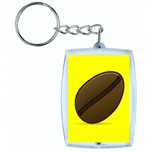 Druckerlebnis24 Schlüsselanhänger Bohne- Kaffee- ICON- Ikonen- MATT- Symbol in Gelb | Keyring - Taschenanhänger - Rucksackanhänger - Schlüsselring