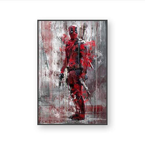 meilishop Pintura Sin Marco HD Marvel Superhéroe Acuarela Cartel Iron Man Spider-Man Lienzo Pintura Decoración del Hogar A742 (50X70Cm) Sin Marco