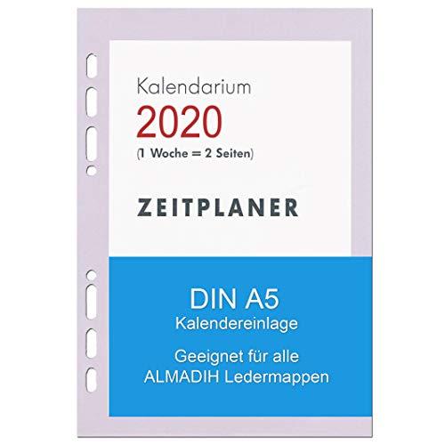A5 Kalendereinlage 2020 für ALMADIH Ledermappen: A5 Terminplaner & Organizer - (1 Woche auf 2 Seiten) Ersatzkalendarium Kalender Einlagen Zeitplaner Time-Planer Jahresplan (Kalender A5 2020)