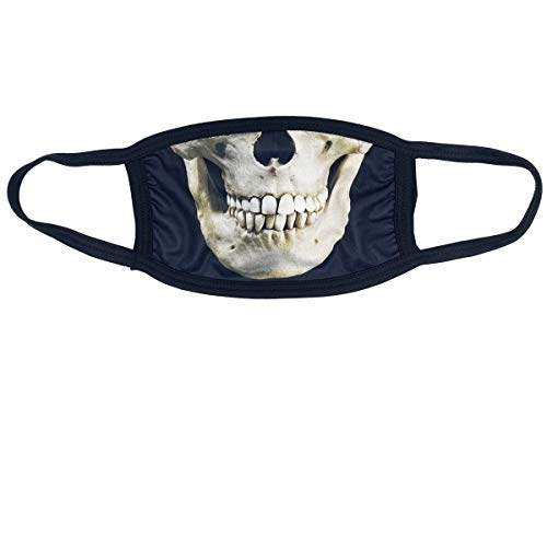 Soft Cotton/Polyester Face Mask - 3 Layer for Outdoors & Travel w/Ear Loops Reusable Covering Funny Printed Graphics by MASKAGE (Skull)