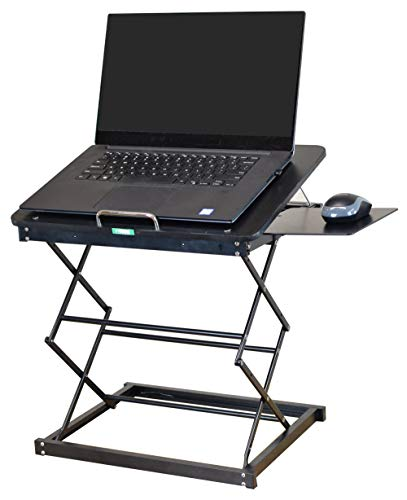 CD4 Portable Laptop Standing Desk Converter & Adjustable Laptop Desk Stand. Ergonomic sit Stand up Desktop Riser Topper Small Compact Mobile Tall Folding Height Angle tilt Workstation Attachment
