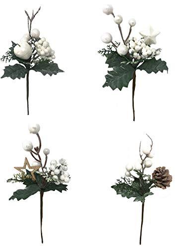 Vetrineinrete 4 Rami Artificiali Decorazioni Natalizie con Bacche di Agrifoglio Bianche Stella pigna Fiori 22 cm addobbi di Natale per Albero 1758 P39