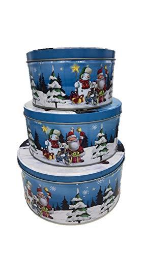 keks dose Plätzchendose Weihnachtsdose Metalldosen 3er Set Rund Geschenkdosen,20 cm /17 cm / 13,5 cm