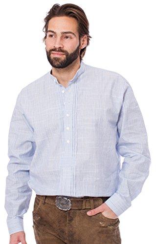 Unbekannt Orbis Trachtenhemd Pfoad Stehkragen Mittelblau, S