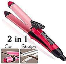 FIgment 2-in-1 Ceramic Plate Essential Combo Beauty Set of Hair Straightener and Plus Curler hair curler for women, hair straightner for women, hair straightener and curler 2 in 1 (Pink)