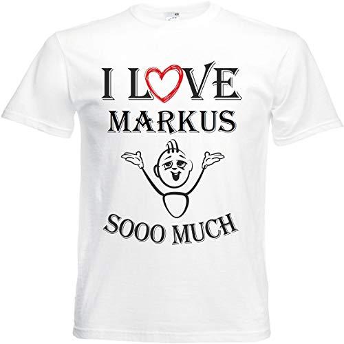 Camiseta I Love Markus para mujer, hombre y niños en color blanco. Blanco M