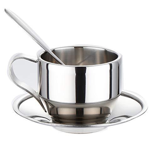 MyWheelieBin Edelstahl Set Geschenk Restaurant Kaffeetasse Sprinkler Kaltes Getränk Doppelte Tasse 125ml Dreiteilige Kaffeetasse