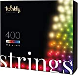 Twinkly - TWS400SPP Special Edition 400 RGB+White LED String Lights - App-Controlled LED Christmas Lights with Green Cable (105ft) - IoT & Razer Chroma Enabled - Indoor/Outdoor Party Decorations
