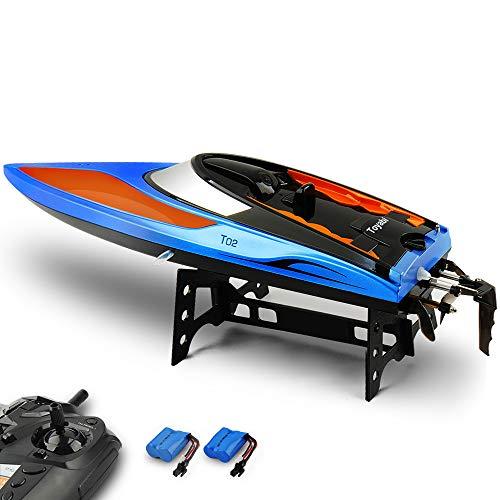 E T RC Boot Ferngesteuertes Boot 2,4GHz 20MPH High Speed Boot mit Kapsel Standard Funktion Fernbedienung Spielzeug für Kinder mit Extra Batterie (orange blau)