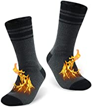 Thermal Socks Women Winter, KitNSox Girls Cozy Fur Lined Insulated Thick Heat Fuzzy Socks for Men Socks for Men Extreme Cold, Medium, 1 Pair Deep Gray Stripe