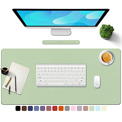 """TOWWI PU Leather Desk Pad with Suede Base, Multi-Color Non-Slip Mouse Pad, 32"""" x 16"""" Waterproof Desk Writing Mat, Large Desk Blotter Protector (Light Green)"""