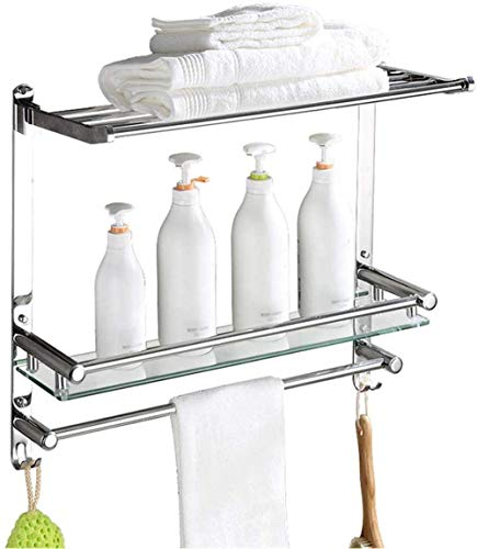 HKX Toallero para baño, cocina, acero inoxidable 304, toallero, estante de cristal para baño, ducha, baño, baño, ducha, baño, pared (tamaño: 40 cm)