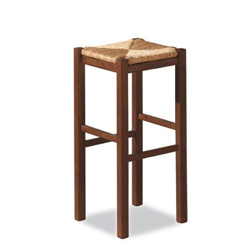 Taburete rústico color nogal con asiento de paja–75cm de altura