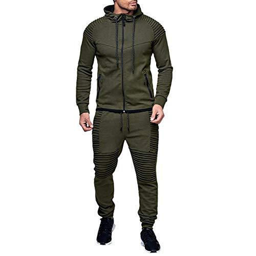 AABBQ Herren Jogging Anzug Trainingsanzug Sportanzug, Hoodie-Sporthose | Jogging-Anzug | Trainings-Anzug | Jogging-Hose (B - Armeegrün, L)
