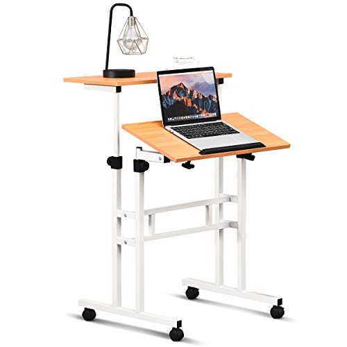 Tangkula Mobile Standing Desk, Height & Angle Adjustable Stand Up Desk Computer Workstation, Movable Computer Desk with Tilting Surface & 4 Rolling Wheels, Suitable for Sitting or Standing, Natural