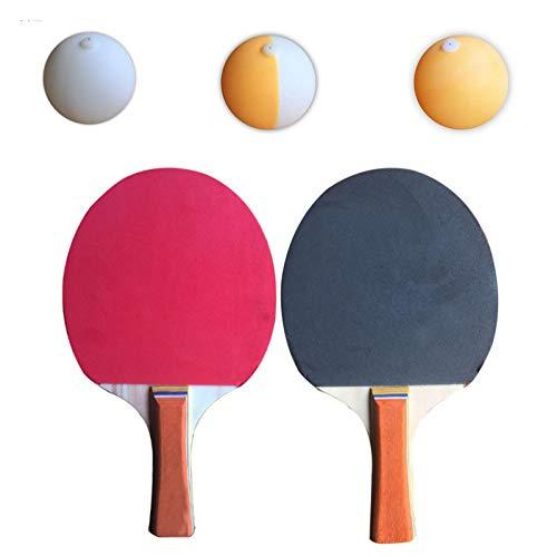 winterseet Ejes elásticos para tenis de mesa, deportes de descompresión de ocio, juego de tenis de mesa, juego de juguete para interiores o exteriores (2 palas + 3 pelotas, alturas de 90 cm)