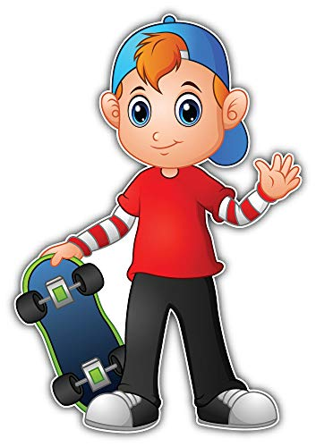 SkyBug Cartoon Boy Holding Skateboard Bumper Sticker Vinyl Art Decal voor Auto Truck Van Window Bike Laptop