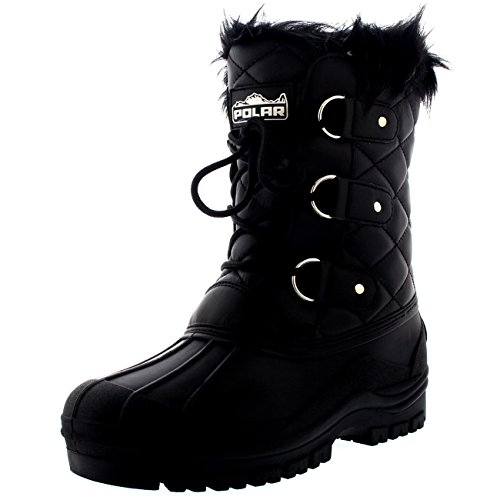 POLAR Womens Mid Calf Mountain Walking Tactical Waterproof Boots - Black Leather - US9/EU40 - YC0368