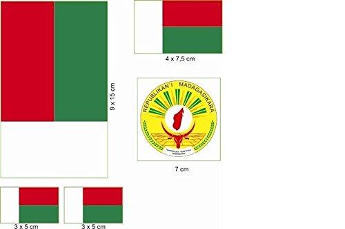 U24 Aufkleberbogen Madagaskar Aufkleber Set Flagge Fahne