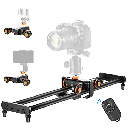 Neewer Kamera Slider, 60cm Schienenkamera-Slider mit kabellosem 3 Rad Auto-Dolly und Fernbedienung, 3 Fach einstellbar für DSLR-Kamera-Camcorder, Belastbarkeit bis zu 5kg