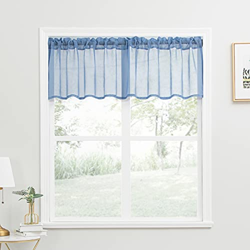 YOKISTG Sheer Kitchen Curtains Valance 18 Inch Length Small Window Curtains for Basement Bathroom Cafe, Blue, 2 Panels
