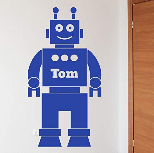 Nombre personalizado Boys Love venta de dibujos animados Robot Wall Vinyl Decal extraíble Kids Room Decoration Home 55 * 90 CM
