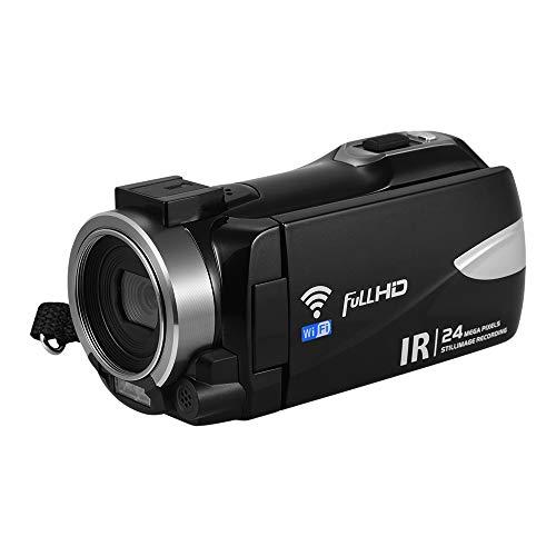 Camnoon Cámara de Video Digital portátil Multifuncional 1080P FHD Videocámara Grabadora DV Soporte de 24MP IR Visión Nocturna Conexión WiFi 16X Zoom Digital Pantalla giratoria TFT de 3 Pulgadas
