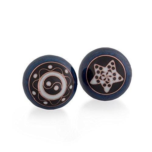 Meditation Qi-Gong-Kugeln mit Klangwerk | Klangkugeln | Yin Yang | Design Yin Yang Ornament blau | verschiedene Durchmesser (45 mm)