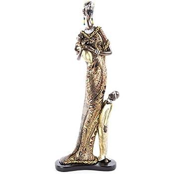 AVENUELAFAYETTE Statuette Femme africaine avec pot 20 cm