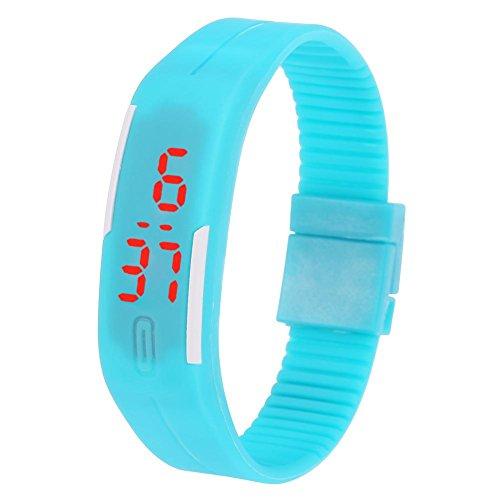 Acogedor Fitness-Tracker – Fitness-Tracker-Uhr mit schmalem Display und Armbändern, Armband für Kinder/Damen, Herren (5 Farben) (hellblau)
