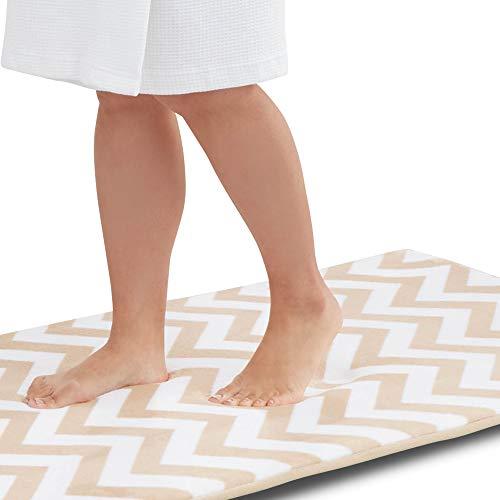 Genteele Memory Foam Bath Mat Non Slip Absorbent Super Cozy Velvet Bathroom Rug Carpet (24 inches X 48 inches, Beige Chevron)