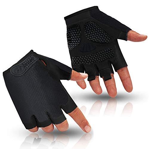 HuwaiH Cycling Gloves Men's/Women's Mountain Bike Gloves Half Finger Biking Gloves Anti Slip Shock Absorbing Gel Pad Breathable Cycle Gloves (Black, Large)