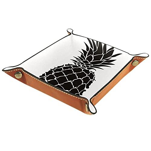 Bandeja de Cuero Fruta en blanco y negro Almacenamiento Bandeja Organizador Bandeja de Almacenamiento Multifunción de Piel para Relojes,Llaves
