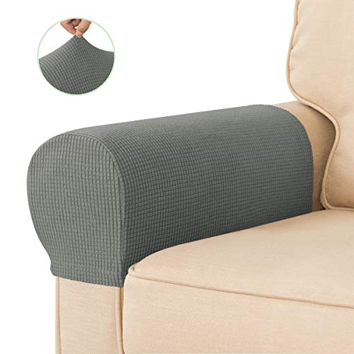 CHUN YI Armrest Cover for Sofa Chairs, Anti-Slip Armrest slipcovers for Armchair with Twisted Pins, Anti-Stain Washable Couch Armrest Protector(Dove Gray)