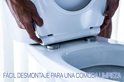 Tapa y asiento de inodoro con caída amortiguada – Compatible con Victoria Roca | Caída Amortiguada y Bisagras de Acero…