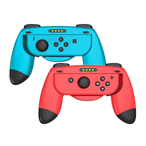 Azakio Grips kit for Nintendo Switch Joy Con Controller, Ergonomic Nintendo Switch Hand Grip,Accessories for Nintendo Switch, 2Pack (Red/Blue)