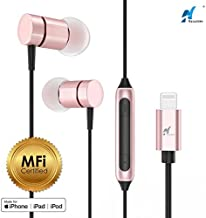 NASUDAKE MFi A1 Plus iPhone Earbuds, Stereo Lightning Headphones w/Noise Cancelling Siri Active Feature Lightning in-Ear Wired Earphone w/Mic & Remote Compatible with iPhone X, 8/8 Plus (Rose Gold)
