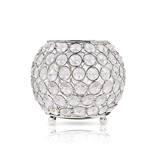 """Acrylic Crystal Beaded Tealight Candle Holder With Flameless Battery Operated Tea Light Included - Round Silver Metal Candle Holder Set For Party Table Decoration Or Home Decor (5.91"""" x 5.91"""" x 4.33"""")"""