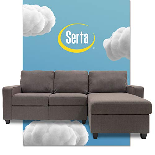 Serta Palisades Reclining Sectional Sofa with Right Storage Chaise, Small Couch with Built-In Storage, Low-Maintenance & Family-Friendly Fabric, Gray